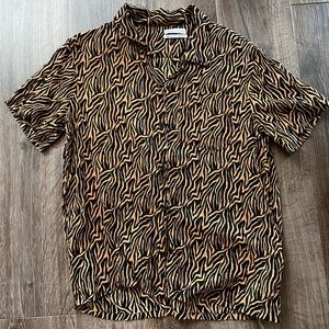 Urban Outfitters Tiger Print Button Down